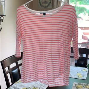 Casual coral and white striped shirt
